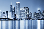 Evening Prints - Chicago Skyline at Night Print by Paul Velgos