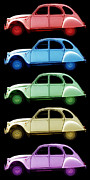 French Cars Prints - 5 Citroens Print by Andrew Fare