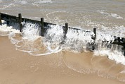 North Sea Framed Prints - Coastal Defences, Norfolk Framed Print by Colin Cuthbert
