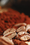 Ceramic Prints - Coffee beans and ground coffee Print by Elena Elisseeva