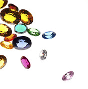 Isolated Jewelry Prints - Colorful Gems Print by Setsiri Silapasuwanchai