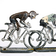 White Background Prints - Cyclists Print by Bernard Jaubert