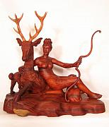 Featured Sculpture Framed Prints - Diana and the Stag Framed Print by Thu Nguyen