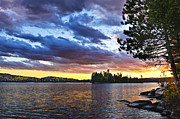 Fall Prints - Dramatic sunset at lake Print by Elena Elisseeva