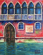 Old Buildings Mixed Media Prints - FACADE on GRAND CANAL Print by Dan Haraga