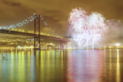 Finale Framed Prints - Fireworks at New Years Eve in Lisbon Framed Print by Andre Goncalves
