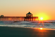 Folly Beach Posters - Folly Beach Pier Sunrise Poster by Dustin K Ryan