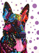 Acrylic Abstract Art Paintings - German Shepherd by Dean Russo