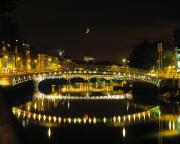 Reflection Of Buildings In Water Prints - Hapenny Bridge, River Liffey, Dublin Print by The Irish Image Collection