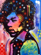 Acrylic Abstract Art Paintings - Jimi Hendrix by Dean Russo