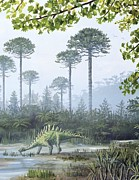 European Artwork Framed Prints - Jurassic Life, Artwork Framed Print by Richard Bizley