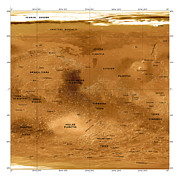 Hellas Prints - Mars Topographical Map, Satellite Image Print by Detlev Van Ravenswaay