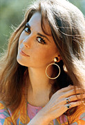 Gold Earrings Acrylic Prints - Natalie Wood Acrylic Print by Everett
