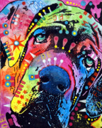 Dog Print Mixed Media Framed Prints - Neo Mastiff Framed Print by Dean Russo