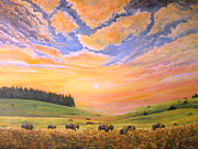 Buffalo River Paintings - O Give Me a Home Where the Buffalo Roam by Connie Tom