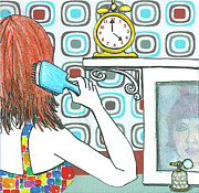 Illustrative Mixed Media Prints - 5 Oclock Print by Michele Fritz
