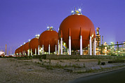 Lpg Prints - Oil Refinery Storage Tanks Print by Paul Rapson