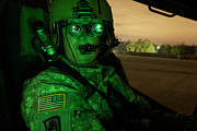 Field Glasses Prints - Pilot Equipped With Night Vision Print by Terry Moore