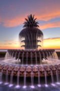 Charleston Digital Art Originals - Pineapple Fountain Charleston SC Sunrise by Dustin K Ryan