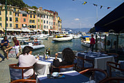 Outdoor Cafe Photo Prints - Portofino in the Italian Riviera in Liguria Italy Print by David Smith