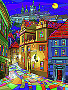 Featured Mixed Media - Prague Old Street by Yuriy  Shevchuk