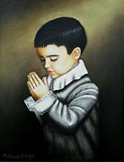 Child Praying Paintings - Prayer by Monica  Vega