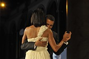 First Love Photo Prints - President And Michelle Obama Dance Print by Everett