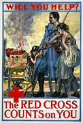 Destitute Framed Prints - Red Cross Poster, 1917 Framed Print by Granger