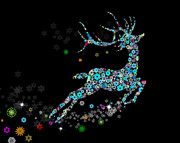 Seasonal Digital Art Metal Prints - Reindeer design by snowflakes Metal Print by Setsiri Silapasuwanchai
