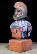 Archaeology Sculpture Ceramics Prints - Roman Legionaire - Warrior - ancient Rome - Roemer - Romeinen - Antichi Romani - Romains - Romarere  Print by Urft Valley Art