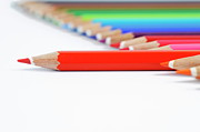 Colored Pencil Metal Prints - Row of colorful crayons Metal Print by Sami Sarkis