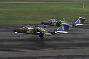 Angelholm Photos - Saab 105 Jet Trainers Of The Swedish by Daniel Karlsson