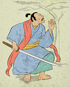Japanese Fighter Posters - Samurai warrior with katana sword fighting stance Poster by Aloysius Patrimonio