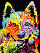 Colorful Mixed Media Posters - Siberian Husky Poster by Dean Russo