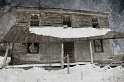 Residential Structure Prints - Snowy Abandoned Homestead Porch Print by John Stephens