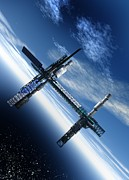Residential Structure Digital Art Prints - Space Station, Artwork Print by Victor Habbick Visions