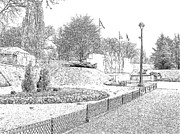 Flower Photography Drawings - Verdun World War II Memorial by Joseph Hendrix