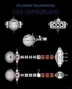 Enceladus Digital Art - 5 views of the USS CUMBERLAND by David Robinson