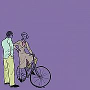 Retro Drawings Prints - Vintage Bike Couple Print by Karl Addison