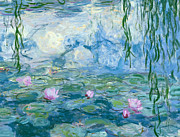 Pink Water Lily Framed Prints - Waterlilies Framed Print by Claude Monet