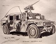 Iraq Drawings Framed Prints - 50 Cal.Hummer Framed Print by Ronald Welch