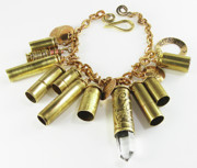 Valentine Jewelry - 50 Caliber Bullet Shell Rock Crystal Mystical Bracelet  by Esprit Mystique