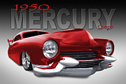 Custom Car Posters - 50 Mercury Lowrider Poster by Mike McGlothlen