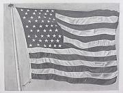 Pencil Drawing Pastels Prints - 50 Stars 13 Stripes Print by Wil Golden