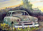 Cars Painting Framed Prints - 51 Ford Framed Print by Sam Sidders