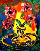 Pop Art Prints Painting Originals - Flowers by Mark Kazav