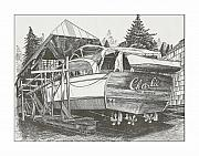 Yachts Drawings Prints - 53 foot classic Chris Craft Yacht Print by Jack Pumphrey