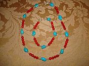 Coral Jewelry - South Western Necklace by Margaret R   Pujals