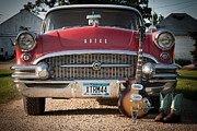 55 Buick Special With 1957 Magnatone Mark V Guitar Print by Toni Thomas
