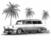 Charcoal Car Posters - 56 Chevy Wagon Poster by Peter Piatt